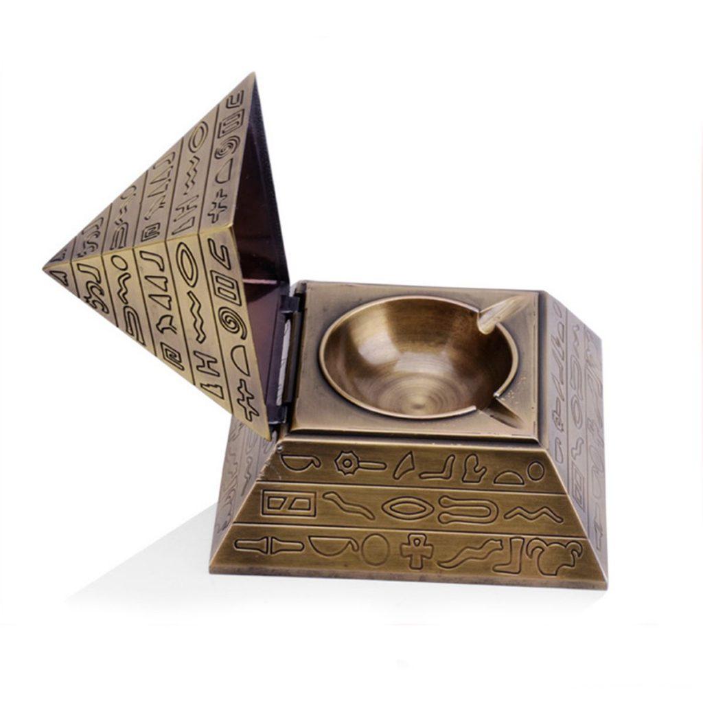 cenicero original decortativo para casa con tapa, piramide con tapa para cigarros, ceniza y colillas, anti humo